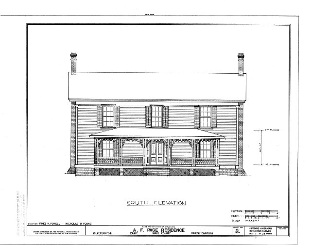 HABS NC,92-CARY,1- (sheet 7 of 23) - A. T. Page House, Wilkenson Street, Cary, Wake County, NC