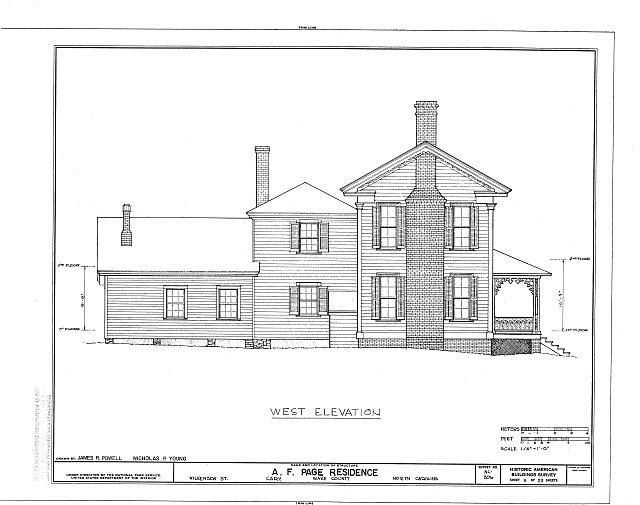 HABS NC,92-CARY,1- (sheet 9 of 23) - A. T. Page House, Wilkenson Street, Cary, Wake County, NC