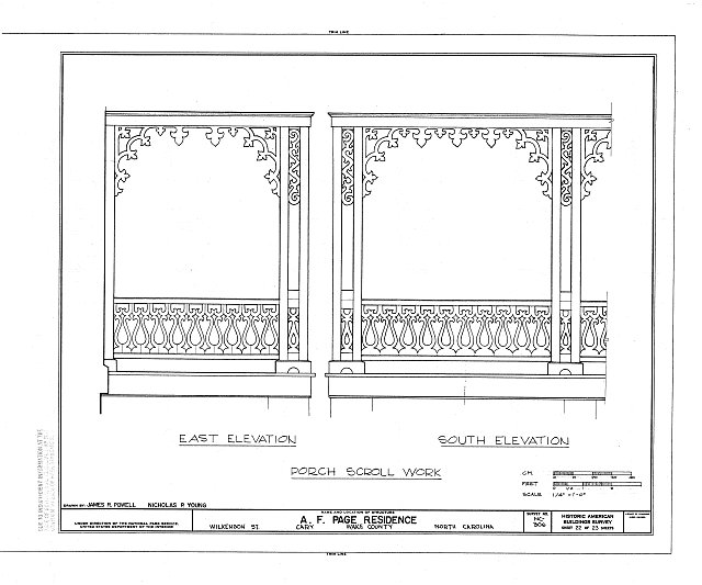 HABS NC,92-CARY,1- (sheet 22 of 23) - A. T. Page House, Wilkenson Street, Cary, Wake County, NC