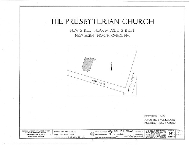 HABS NC,25-NEBER,1- (sheet 0 of 5) - First Presbyterian Church, New &amp; Middle Streets, New Bern, Craven County, NC