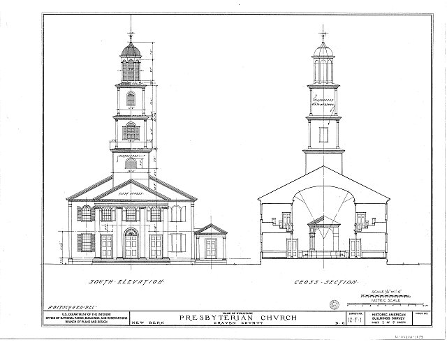 HABS NC,25-NEBER,1- (sheet 2 of 5) - First Presbyterian Church, New & Middle Streets, New Bern, Craven County, NC