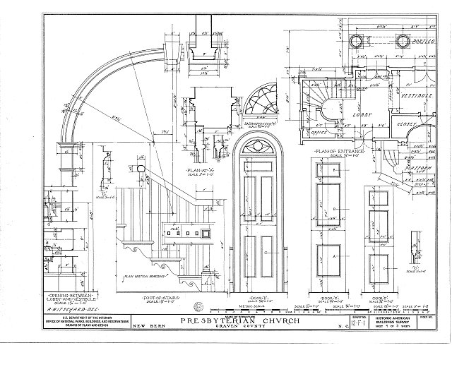 HABS NC,25-NEBER,1- (sheet 4 of 5) - First Presbyterian Church, New & Middle Streets, New Bern, Craven County, NC