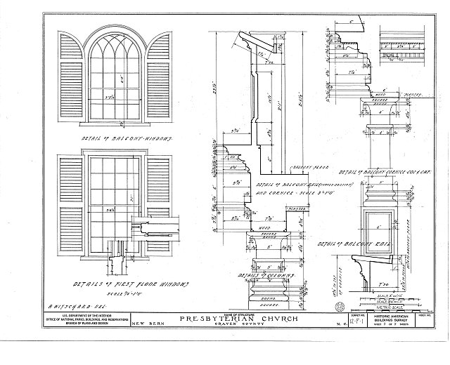 HABS NC,25-NEBER,1- (sheet 5 of 5) - First Presbyterian Church, New & Middle Streets, New Bern, Craven County, NC