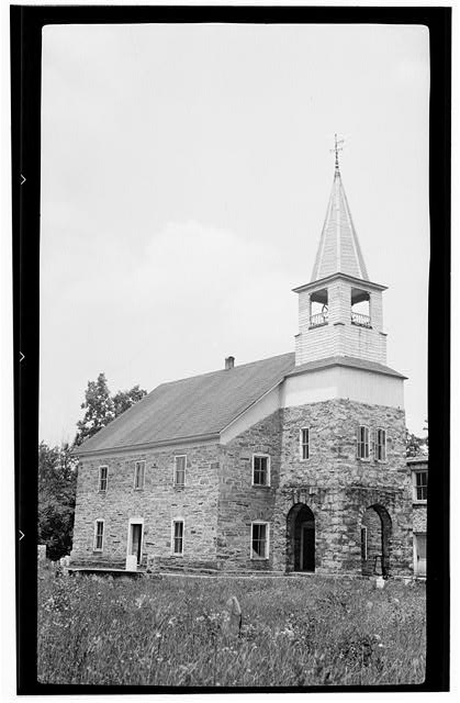 1.  Historic American Buildings Survey, Archie A. Biggs, Photographer June 26, 1937 VIEW OF ENTRANCE FACADE AND SIDE. - Organ Evangelical Lutheran Church, State Route 1006, Rockwell, Rowan County, NC