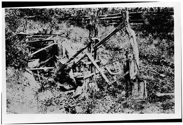 1.  Historic American Buildings Survey, George W. Phillips, Photographer GENERAL VIEW, PESTLE IN RAISED POSITION (PHOTOGRAPHED IN ITS ORIGINAL LOCATION ON THE CINDY BAUMGARTNER PLACE, DEEP CREEK, N.C. BEFORE BEING REMOVED TO ITS PRESENT LOCATION). - Pounding Mill, Pioneer Museum, Route 441 (moved from Deep Creek), Cherokee, Swain County, NC
