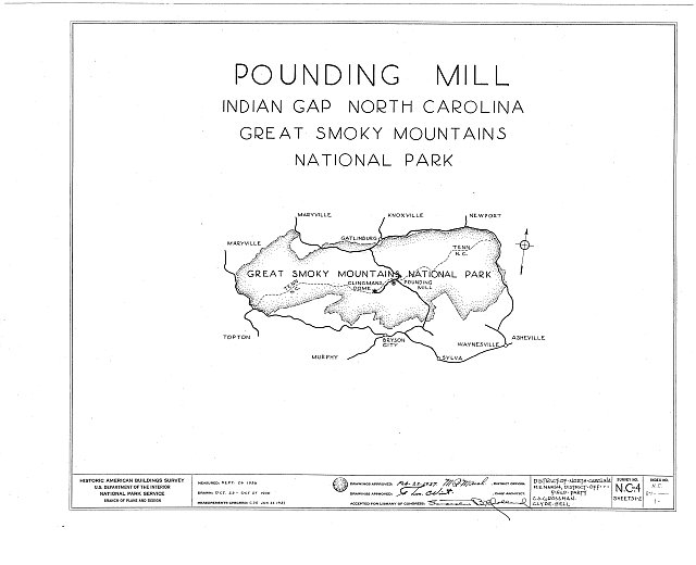 HABS NC,87-____,1- (sheet 0 of 2) - Pounding Mill, Pioneer Museum, Route 441 (moved from Deep Creek), Cherokee, Swain County, NC
