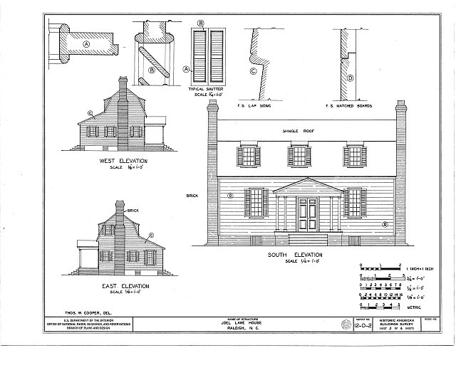 HABS NC,92-RAL,2- (sheet 3 of 6) - Joel Lane House, 728 Hargatt Street, Raleigh, Wake County, NC