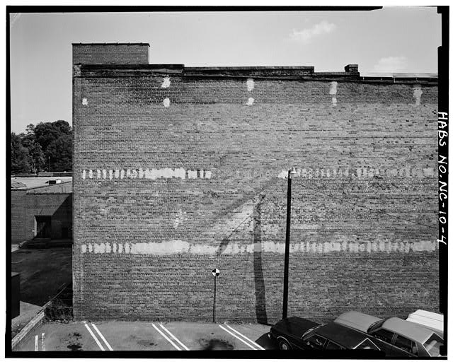 4.  Partial view of west party wall, north half - Barber-Towler Building (Commercial Building), 123 East Martin Street, Raleigh, Wake County, NC