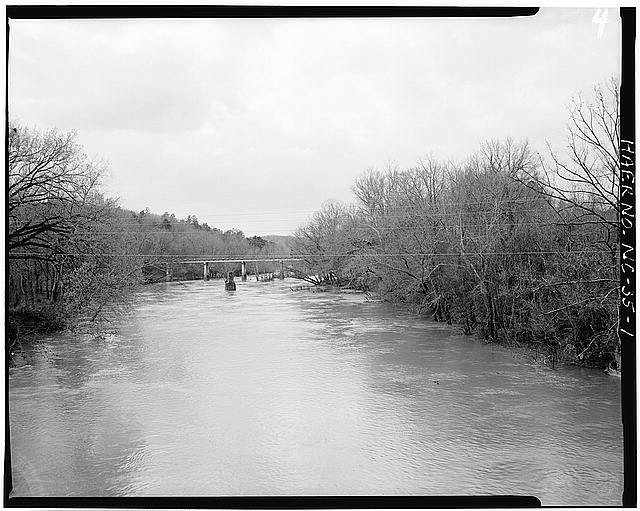 1.  DEEP RIVER, VIEW, LOOKING WEST, FROM S.R. 1011 BRIDGE - Lockville Hydroelectric Plant, Deep River, 3.5 miles upstream from Haw River, Moncure, Chatham County, NC