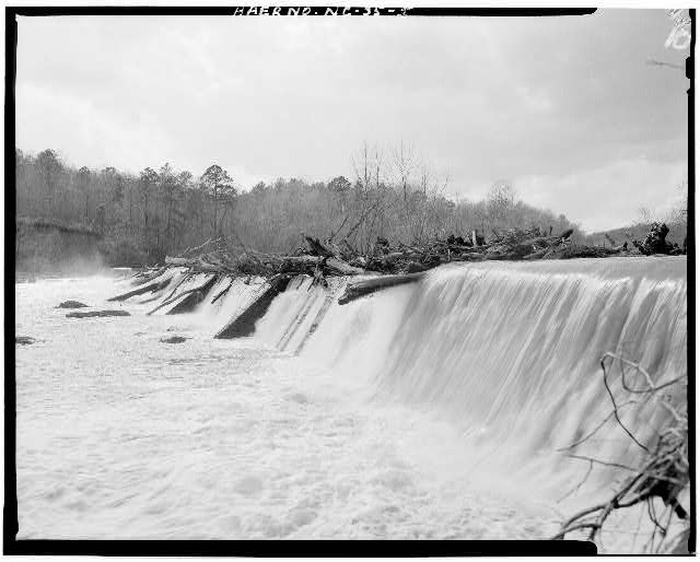 5.  VIEW OF FALLS AT DAM FROM NORTH BANK OF DEEP RIVER - Lockville Hydroelectric Plant, Deep River, 3.5 miles upstream from Haw River, Moncure, Chatham County, NC