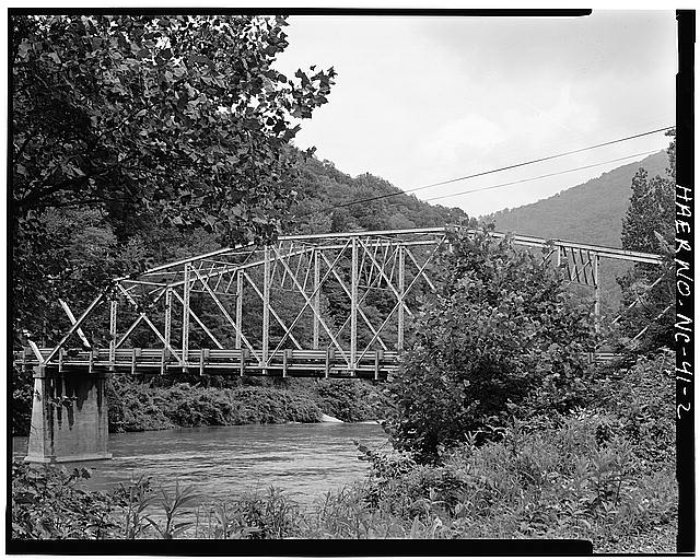 2.  VIEW OF BRIDGE, FROM SOUTHEAST, SHOWING CAMELBACK PORTION - North Carolina Route 1314 Bridge, Spanning Toe River, Relief, Mitchell County, NC