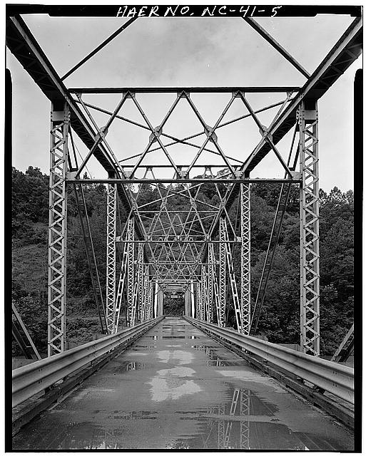 5.  BARREL VIEW FROM MID-WAY EAST TRUSS, LOOKING EAST TO WEST - North Carolina Route 1314 Bridge, Spanning Toe River, Relief, Mitchell County, NC