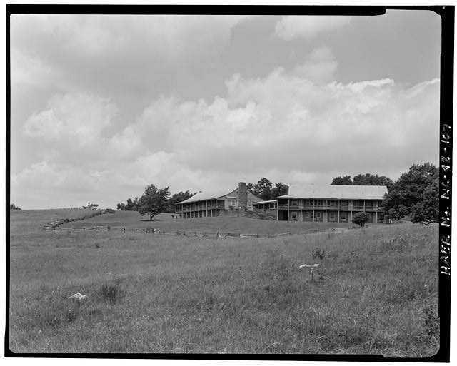 107.  Doughton Park Recreation Area Lodge. Opened in 1949, this was the first lodge to open on the parkway. View looking north across the meadows. - Blue Ridge Parkway, Between Shenandoah National Park & Great Smoky Mountains, Asheville, Buncombe County, NC