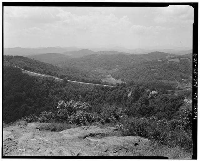 109.  Doughton Park Recreation Area. View of alligator back and the parkway seen from bluff mountain. Looking west. - Blue Ridge Parkway, Between Shenandoah National Park & Great Smoky Mountains, Asheville, Buncombe County, NC
