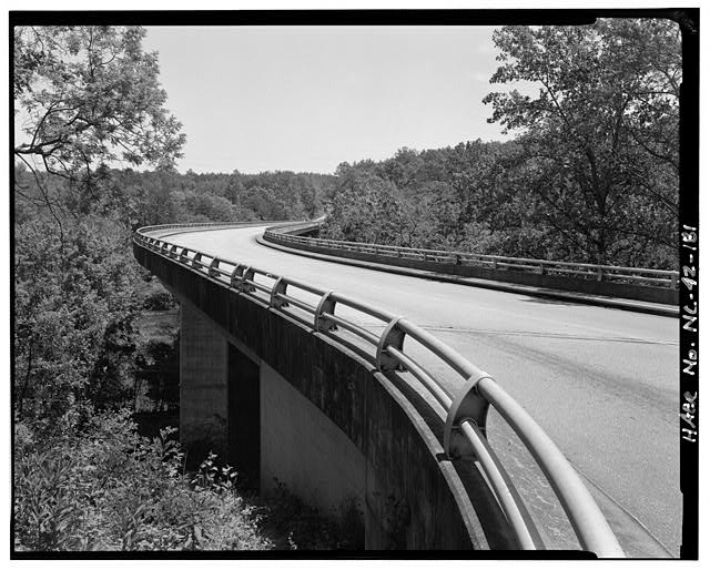 181.  French Broad River Bridge. This bridge is straight except for to small curves at its southern approach. Looking northeast. - Blue Ridge Parkway, Between Shenandoah National Park & Great Smoky Mountains, Asheville, Buncombe County, NC