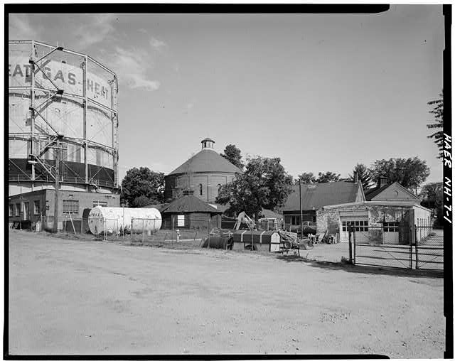 1.  General view of site looking NW. - Concord Gas Light Company, Gasholder House, South Main Street, Concord, Merrimack County, NH