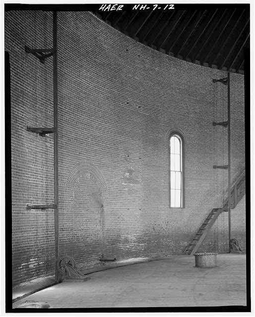 12.  Interior view of Gasholder House showing wall, window, gasholder guide sheaves and stair to cupola. - Concord Gas Light Company, Gasholder House, South Main Street, Concord, Merrimack County, NH
