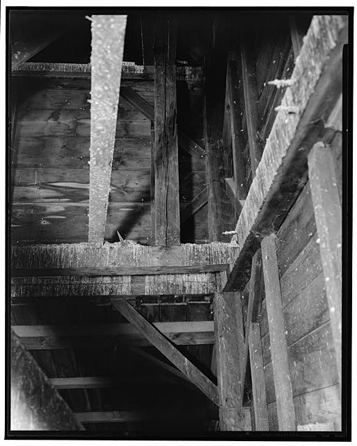 3.  Historic American Buildings Survey L.C. DURETTE, Photographer CONSTRUCTION OF STEEPLE FROM ATTIC FLOOR - First Methodist Episcopal Church, Valley & Jewett Streets (moved from NH, Derryville), Manchester, Hillsborough County, NH