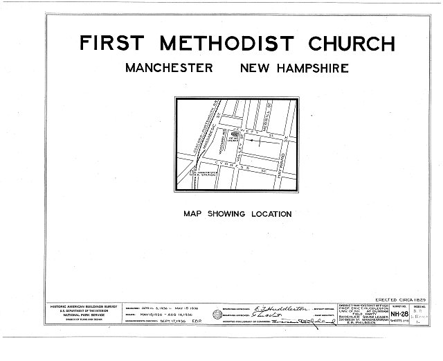 HABS NH,6-MANCH,1- (sheet 0 of 16) - First Methodist Episcopal Church, Valley & Jewett Streets (moved from NH, Derryville), Manchester, Hillsborough County, NH