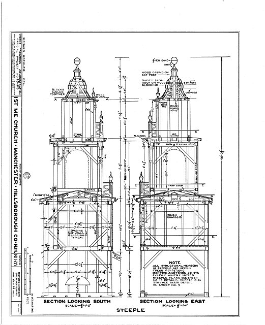 HABS NH,6-MANCH,1- (sheet 13 of 16) - First Methodist Episcopal Church, Valley & Jewett Streets (moved from NH, Derryville), Manchester, Hillsborough County, NH