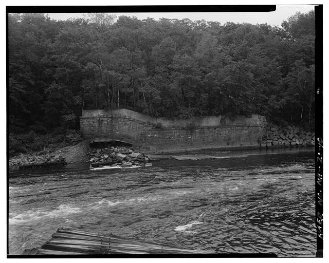 10.  View east, east end of spillway, east abutment - Sewall's Falls Hydroelectric Facility, East end of Second Street spanning Merrimack River, Concord, Merrimack County, NH