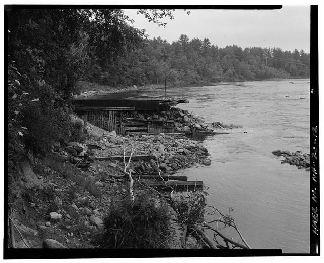 12.  View south and downstream, east end of spillway - Sewall's Falls Hydroelectric Facility, East end of Second Street spanning Merrimack River, Concord, Merrimack County, NH