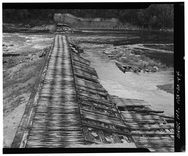 14.  View east, spillway and east abutment - Sewall's Falls Hydroelectric Facility, East end of Second Street spanning Merrimack River, Concord, Merrimack County, NH