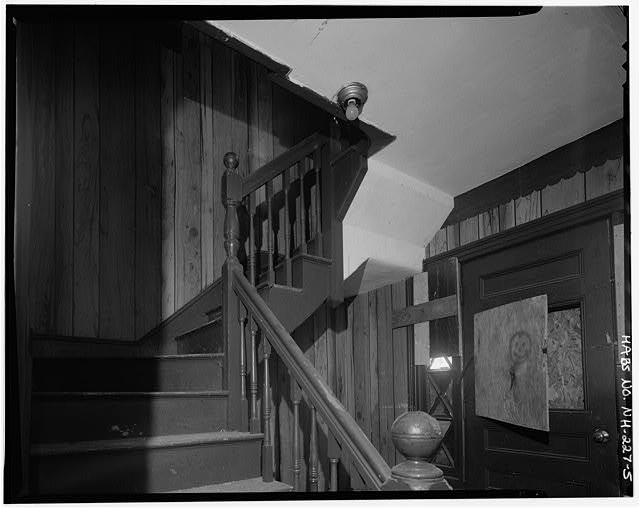 5.  Typical interior, first floor, front staircase, south wall, looking southeast - 241 Cedar Street (Apartments), Manchester, Hillsborough County, NH
