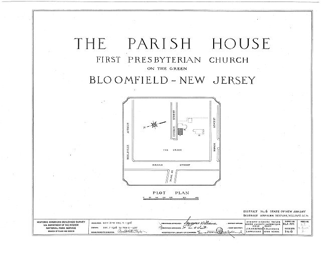 HABS NJ,7-BLOFI,3- (sheet 0 of 6) - First Presbyterian Church on-the-Green, Parish House, Bloomfield, Essex County, NJ
