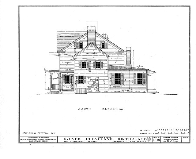 HABS NJ,7-CALD,2- (sheet 2 of 12) - Grover Cleveland Birthplace, 207 Bloomfield Avenue, Caldwell, Essex County, NJ