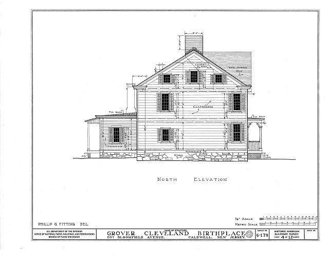HABS NJ,7-CALD,2- (sheet 4 of 12) - Grover Cleveland Birthplace, 207 Bloomfield Avenue, Caldwell, Essex County, NJ