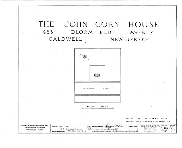 HABS NJ,7-CALD,1- (sheet 0 of 6) - John Cory House, 485 Bloomfield Avenue, Caldwell, Essex County, NJ