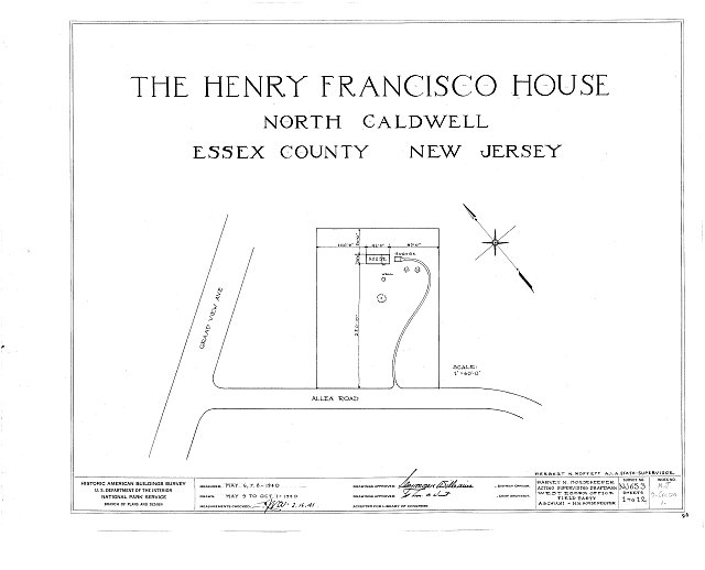 HABS NJ,7-CALDN,1- (sheet 0 of 12) - Henry Francisco House, Allen Road, North Caldwell, Essex County, NJ