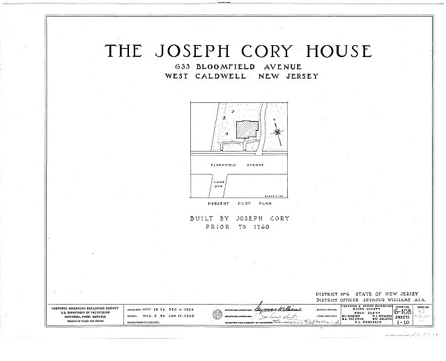 HABS NJ,7-CALDW,1- (sheet 0 of 10) - Lane-Cory House, 633 Bloomfield Avenue, West Caldwell, Essex County, NJ