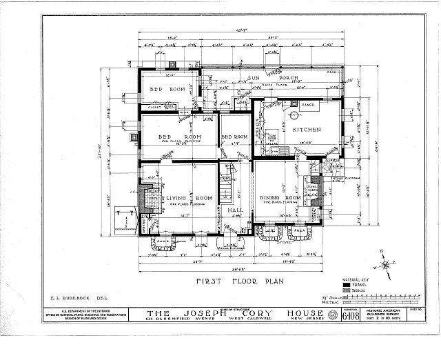 HABS NJ,7-CALDW,1- (sheet 2 of 10) - Lane-Cory House, 633 Bloomfield Avenue, West Caldwell, Essex County, NJ