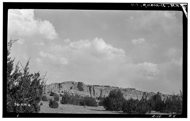 4.  Historic American Buildings Survey M. James Slack, Photographer, April 12, 1934 GENERAL VIEW FROM NORTHWEST - Pueblo of Acoma, Casa Blanca vicinity, Acoma Pueblo, Cibola County, NM