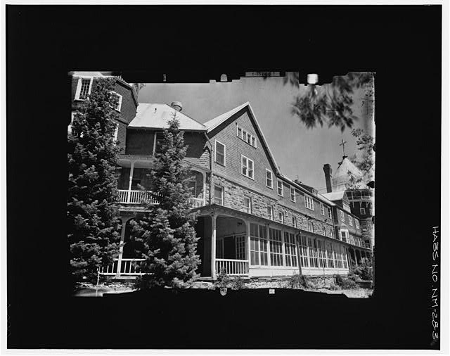 3.  SOUTH FACADE FROM SE, INCLINED--LEVEL Copy photograph of photogrammetric plate LC-HABS-GS05-B-1976-403R. - Montezuma Hotel, Gallinas Canyon, Las Vegas, San Miguel County, NM