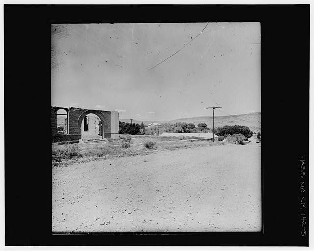 3.  VIEW TO NW PAST COURTHOUSE RUINS Copy photograph of photogrammetric plate LC-HABS-GS01-B-1976-803L. - Town of Hillsboro, Hillsboro, Sierra County, NM