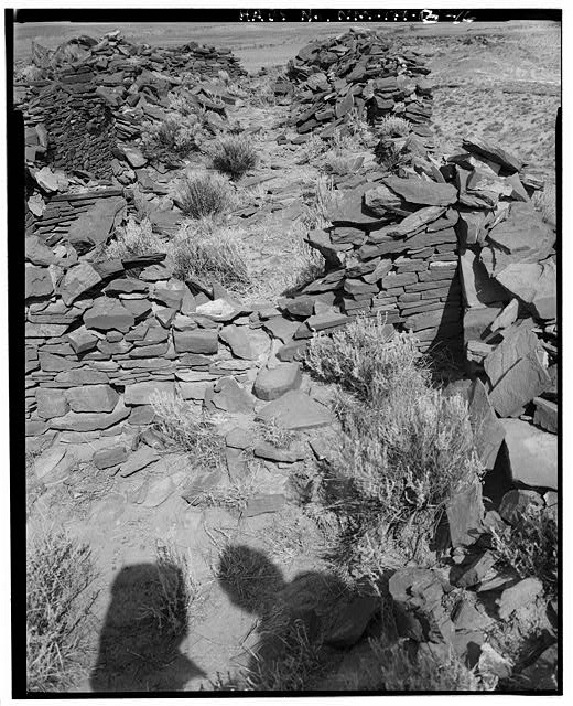 16.  View from southeast corner of site towards north, east wall at right - Indian Creek, Casa Cielo, Indian Creek, Crownpoint, McKinley County, NM