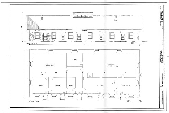 East elevation; plan - Spanish Ranch, Main Bunkhouse, Off of State Rt. 226, Tuscarora, Elko County, NV