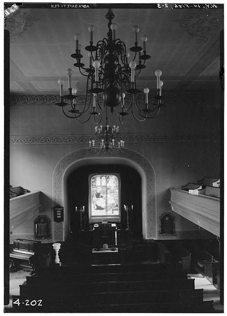 3.  Historic American Buildings Survey, E.P. MacFarland, Photographer April 23, 1934, GENERAL VIEW (INTERIOR LOOKING NORTHWEST TOWARD PULPIT). - First Dutch Reformed Church, Main Street, Fishkill, Dutchess County, NY