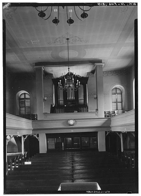 4.  Historic American Buildings Survey, E.P. MacFarland, Photographer April 23, 1934, GENERAL VIEW (INTERIOR LOOKING SOUTHEAST TOWARD VESTIBULE). - First Dutch Reformed Church, Main Street, Fishkill, Dutchess County, NY