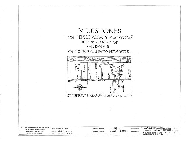 HABS NY,14-HYP,3- (sheet 0 of 1) - Milestone, Old Albany Post Road, Hyde Park, Dutchess County, NY