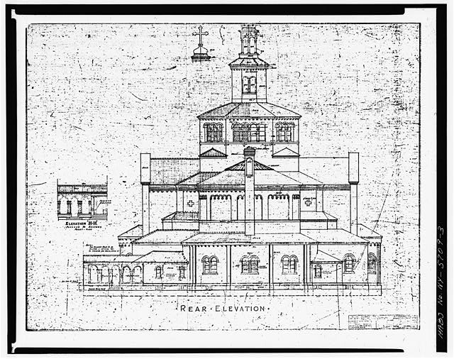 3.  DRAWING OF SOUTH (REAR) ELEVATION - Blessed Trinity Roman Catholic Church, 317 Leroy Avenue, Buffalo, Erie County, NY