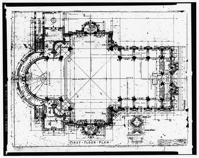 4.  DRAWING OF FIRST FLOOR PLAN - Blessed Trinity Roman Catholic Church, 317 Leroy Avenue, Buffalo, Erie County, NY