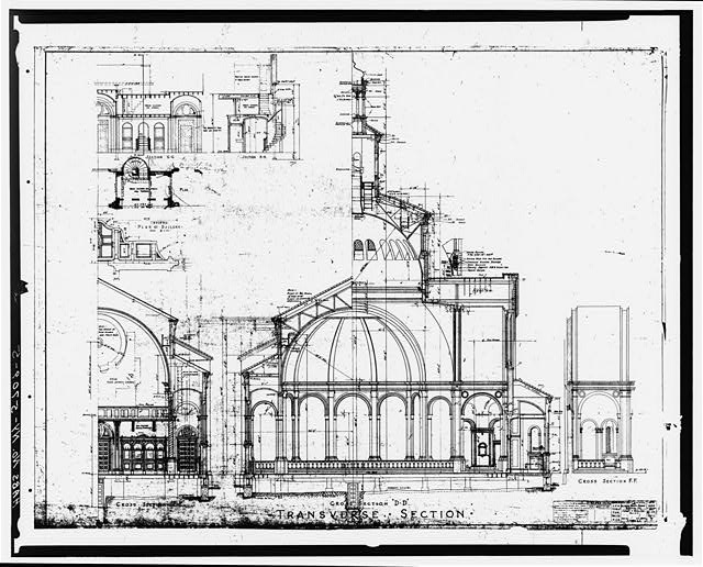 5.  DRAWING OF TRANSVERSE SECTION - Blessed Trinity Roman Catholic Church, 317 Leroy Avenue, Buffalo, Erie County, NY