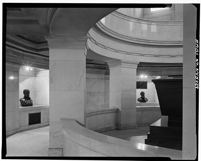 14.  Historic American Buildings Survey, Cervin Robinson, Photographer April 5, 1969, VIEW OF LOWER LEVEL FROM SOUTH, SHOWING SARCOPHAGUS. - Grant's Monument, Riverside Drive & West 122nd Street, New York, New York County, NY
