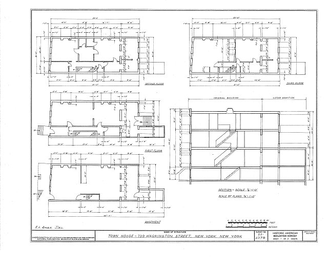 HABS NY,31-NEYO,61- (sheet 1 of 3) - 739 Washington Street (Town House), New York, New York County, NY