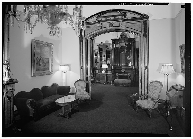 5.  Historic American Buildings Survey, 1966, INTERIOR, WEST ROOM LOOKING INTO LIBRARY. - Sherman Phelps House, 191 Court Street, Binghamton, Broome County, NY