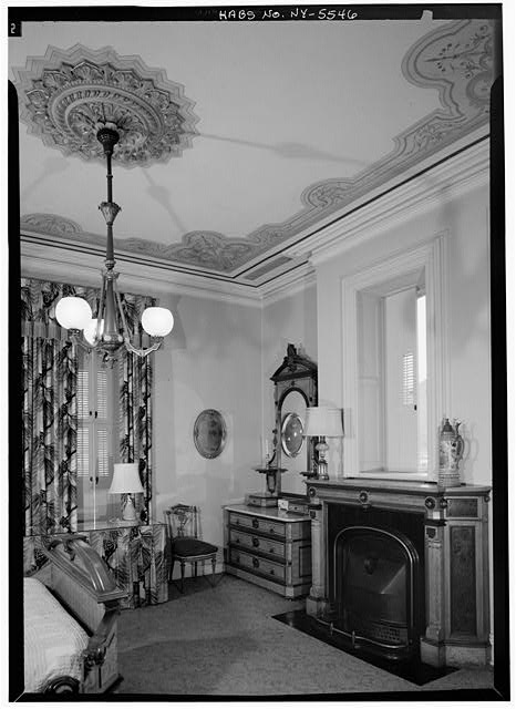 8.  Historic American Buildings Survey, 1966, INTERIOR, BEDROOM, NORTHEAST CORNER SECOND FLOOR, WITH PAINTED CEILING. - J. Stuart Wells House, 71 Main Street, Binghamton, Broome County, NY